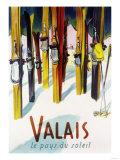 Valais, Switzerland - The Land of Sunshine Premium giclée print van  Lantern Press