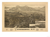 Ticonderoga, New York - Panoramic Map Posters by  Lantern Press
