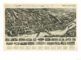 Shelton, Connecticut - Panoramic Map Posters by  Lantern Press