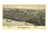 Saint Marys, West Virginia - Panoramic Map Poster