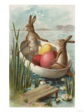 Easter - Bunnies in a Boat with Colored Eggs Prints by  Lantern Press