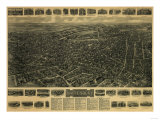 Waterbury, Connecticut - Panoramic Map Posters