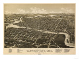 Watertown, Wisconsin - Panoramic Map Print
