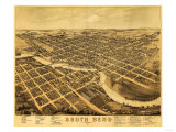 South Bend, Indiana - Panoramic Map Print by  Lantern Press