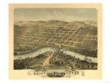 Saint Peter, Minnesota - Panoramic Map Poster