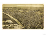 Wilkes-Barre, Pennsylvania - Panoramic Map Poster by  Lantern Press
