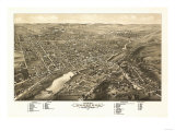 Waukesha, Wisconsin - Panoramic Map Poster