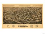 Texarkana, Arkansas - Panoramic Map Poster