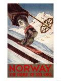Reclameposter wintersport Noorwegen, The Home of Skiing Premium giclée print van  Lantern Press
