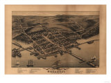 Wiscasset, Maine - Panoramic Map Poster by  Lantern Press