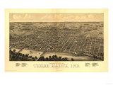 Terre Haute, Indiana - Panoramic Map Plakaty autor Lantern Press