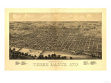 Terre Haute, Indiana - Panoramic Map Posters