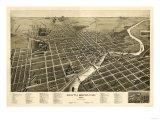 South Bend, Indiana - Panoramic Map Plakaty autor Lantern Press