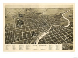 South Bend, Indiana - Panoramic Map Posters