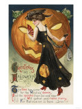 Halloween Greeting - Witch Dancing and Pumpkin Prints by  Lantern Press