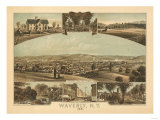 Waverly, New York - Panoramic Map Posters by  Lantern Press