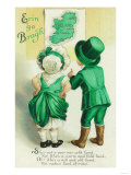 Erin Go Bragh Couple Looking at Ireland Map Scene Prints by  Lantern Press