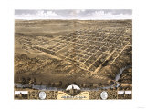 Shelbyville, Illinois - Panoramic Map Poster