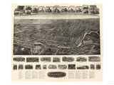 Willimantic, Connecticut - Panoramic Map Poster