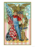 Labor Day Souvenir Labor Holding US Flag and Sledgehammer Art by  Lantern Press