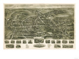 Watertown, Connecticut - Panoramic Map Print by  Lantern Press