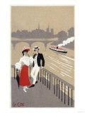 La Cite Art Deco Scene of Couple Watching Riverboat - Paris, France Prints