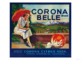 Corona Belle Orange Label - Corona, CA Prints by  Lantern Press