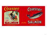 Coaster Salmon Label - Seattle, WA Art