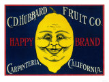Happy Lemon Label - Carpinteria, CA Prints by  Lantern Press