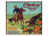 Cowboy Orange Label - Tustin, CA Prints by  Lantern Press