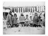 Eskimo Children in front of Dried Salmon Photograph - Alaska Art