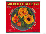 Golden Flower Orange Label - Redlands, CA Prints by  Lantern Press
