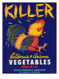 Killer Vegetable Label - Los Angeles, CA Prints by  Lantern Press