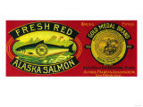 Gold Medal Salmon Can Label - Kodiak Island, AK Prints