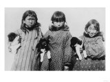 Eskimo Girls with Husky Puppies Photograph - Alaska Prints by  Lantern Press