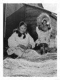 Eskimo Mother and Child in Far North Alaska Photograph - Alaska Prints