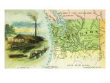 Map View of the State with a Lumbering Scene - Washington Prints by  Lantern Press