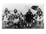 Four Eskimo Natives and Reindeer Photograph - Alaska Prints
