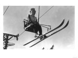 Lady Skier on Timberline Ski Lift - Mt. Hood, OR Prints