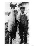 Man Holding Life Size King Salmon - Alaska Prints by  Lantern Press