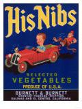 His Nibs Vegetable Label - Salinas, CA Prints