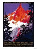 La Chaine De Mont-Blanc Vintage Poster - Europe Giclee-tryk i høj kvalitet af  Lantern Press