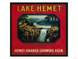 Lake Hemet Orange Label - Hemet, CA Prints by  Lantern Press