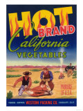Hot Vegetable Label - Guadalupe, CA Prints by  Lantern Press