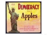Democracy Apple Crate Label - Dufur, OR Prints by  Lantern Press