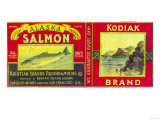 Kodiak Salmon Can Label - Kodiak Island, AK Prints
