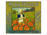 May Orange Label - Redlands, CA Prints by  Lantern Press