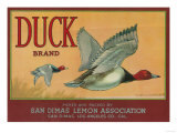 Duck Lemon Label - San Dimas, CA Prints by  Lantern Press