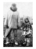 Eskimo Father and Child In Alaska Photograph - Alaska Prints by  Lantern Press