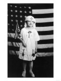 Little Girl in Nurses Outfit Holding US Flag Prints